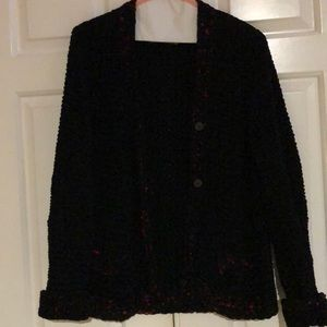 Vintage black and red cardigan button down sweater